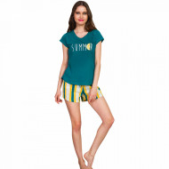 Pijamale Dama Vienetta Bumbac 100%, 'Summer' Green