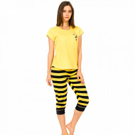 Pijamale Dama Vienetta din Bumbac cu Pantalon 3/4 Model 'Bee Happy'