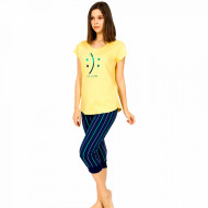 Pijamale Dama Vienetta din Bumbac cu Pantalon 3/4 Model 'Happy or Sad You Decide'