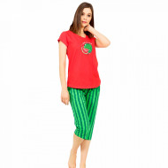 Pijamale Dama Vienetta din Bumbac cu Pantalon 3/4 Model 'Hello Summer' Red