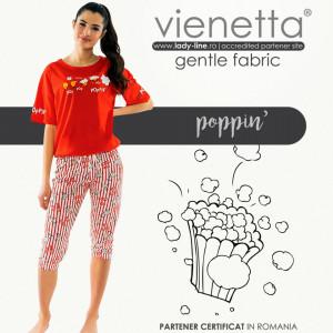 Pijamale Dama Vienetta din Bumbac cu Pantalon 3/4 Model 'Poppin' Red'