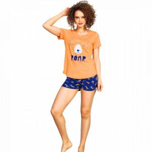 Pijamale Dama Vienetta, 'Roar' Culoare Portocaliu/Albastru