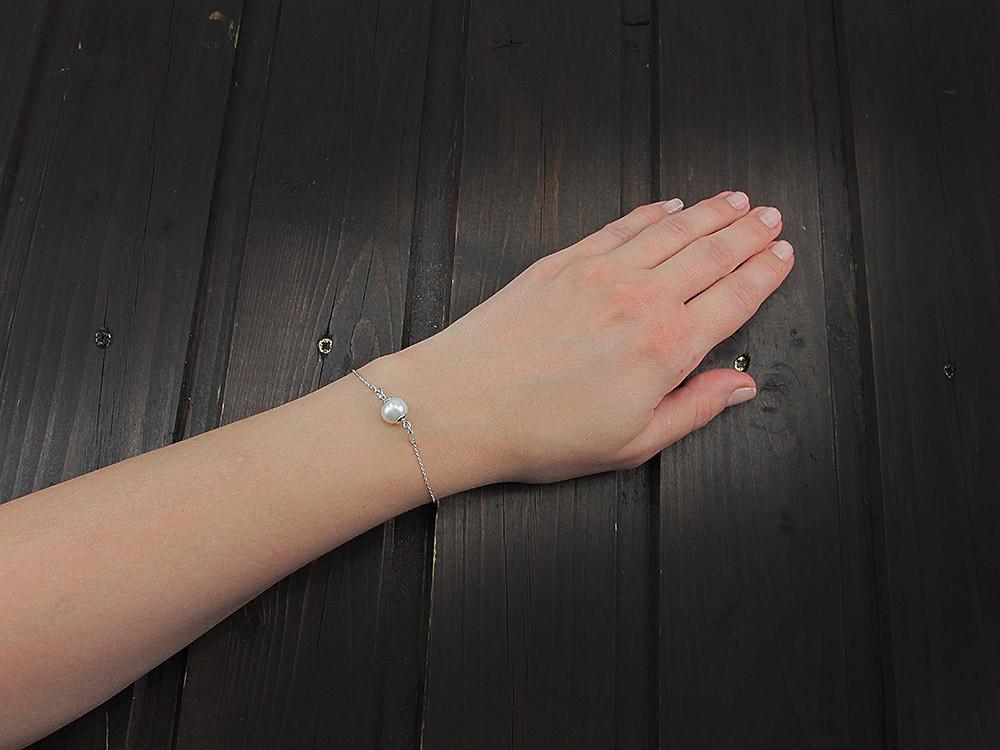 Bratara argint cu perla de cultura alba