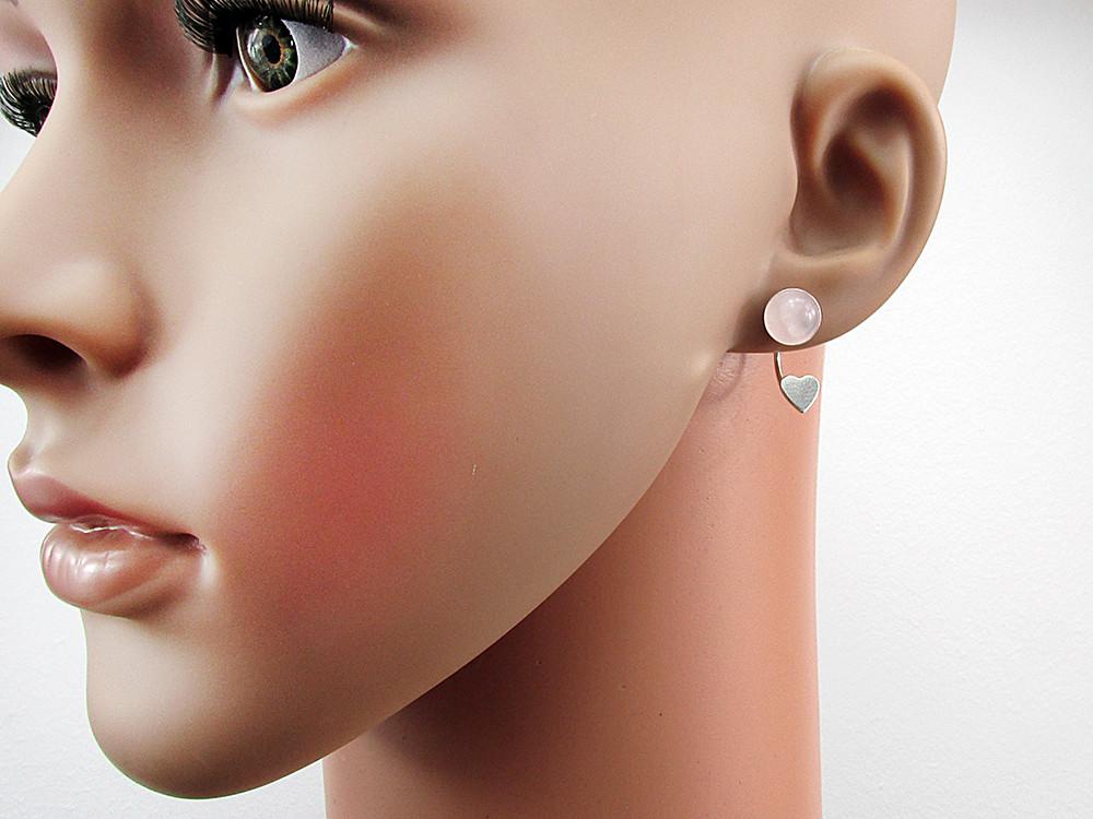 Cercei argint inimioare cu cuart roz natural 8 MM