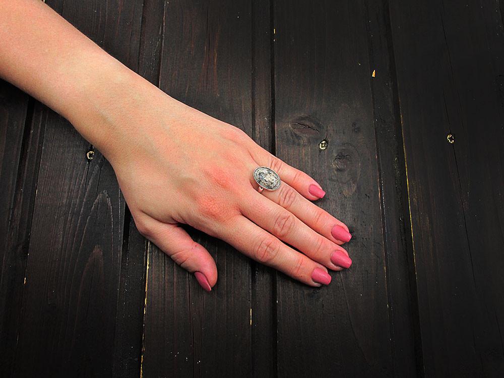 Inel argint reglabil cu agat piele-de-sarpe 18x13 mm UNICAT