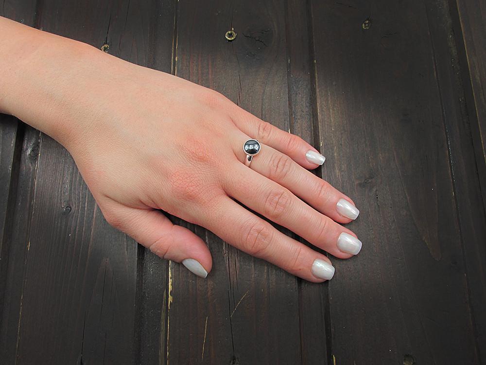 Inel argint reglabil cu hematit natural 8 MM