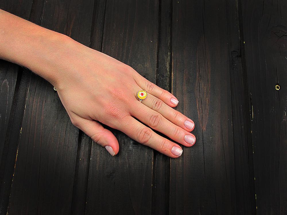 Inel argint reglabil cu Millefiori galben 10 MM