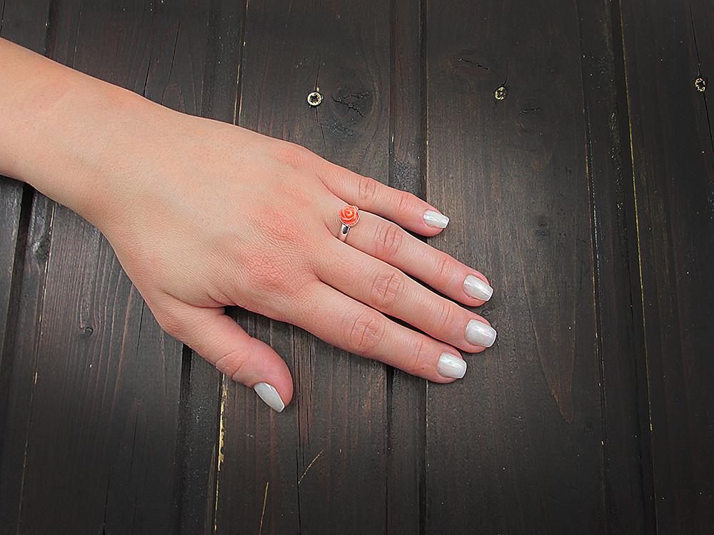 Inel argint reglabil cu trandafir coral oranj pasta 7 MM