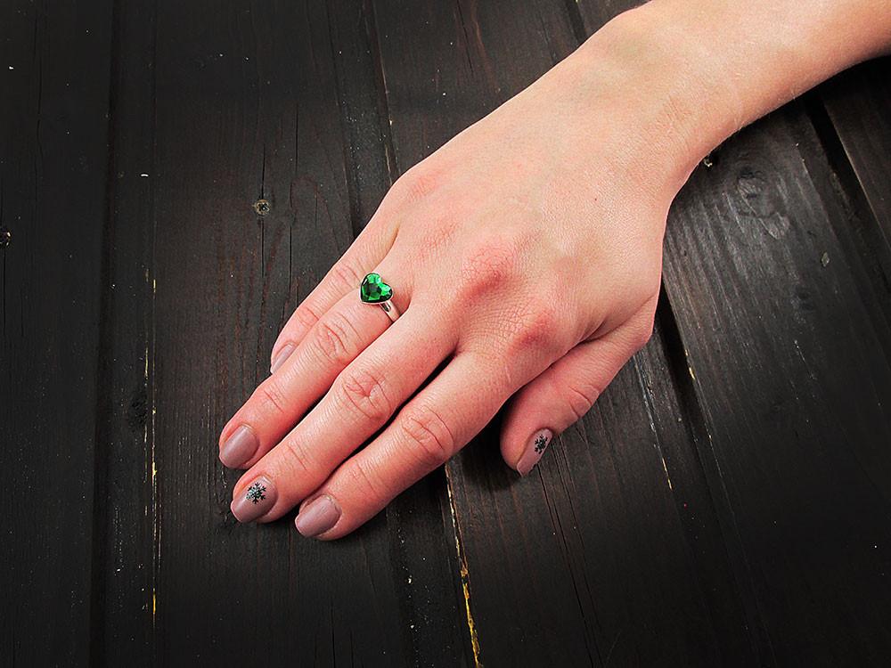 Inel argint reglabil inimioara verde Swarovski