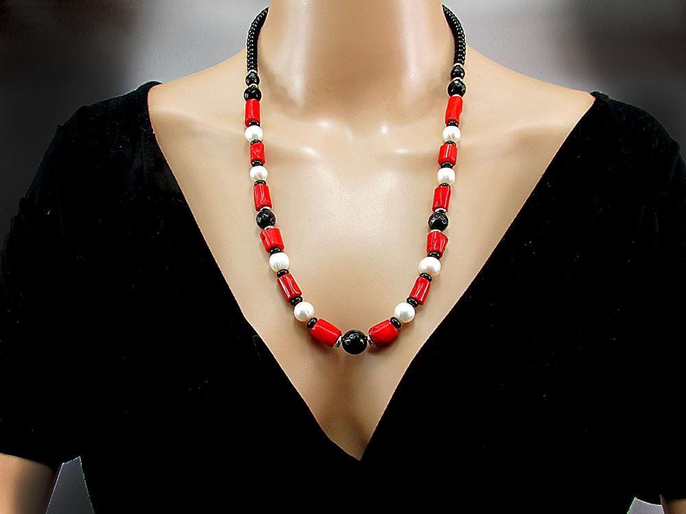 Set Boho Chic onix, perle de cultura si coral natural