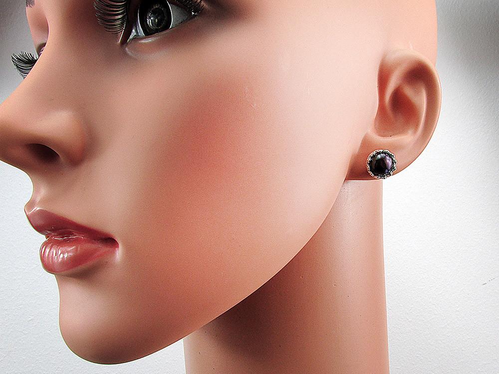 Cercei argint coroana perle de cultura negre 8 MM