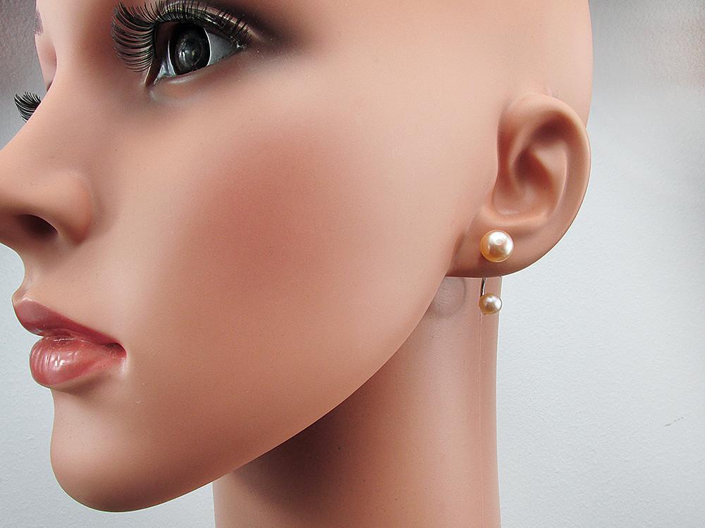 Cercei argint Double Glam cu perle de cultura oranj 8 si 6 MM