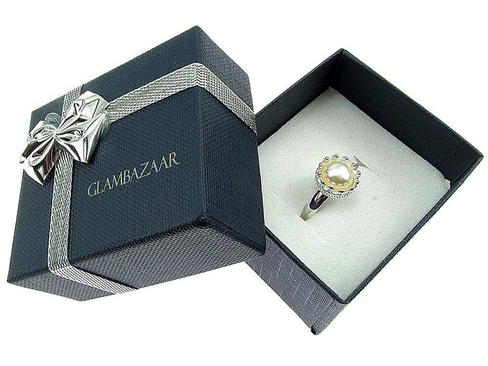 Inel argint reglabil coroana cu perla de cultura alba 8 MM
