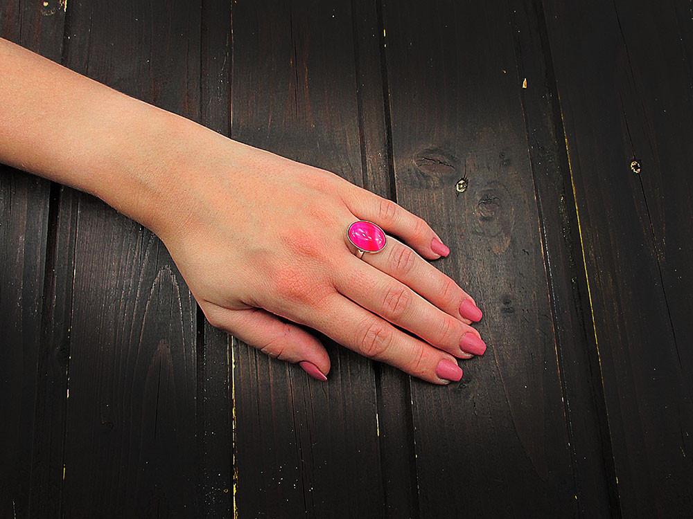 Inel argint reglabil cu agat roz dantelat 18x13 mm UNICAT
