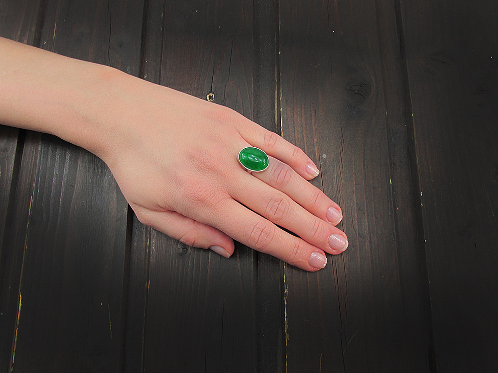 Inel argint reglabil cu agat verde natural 18x13 MM