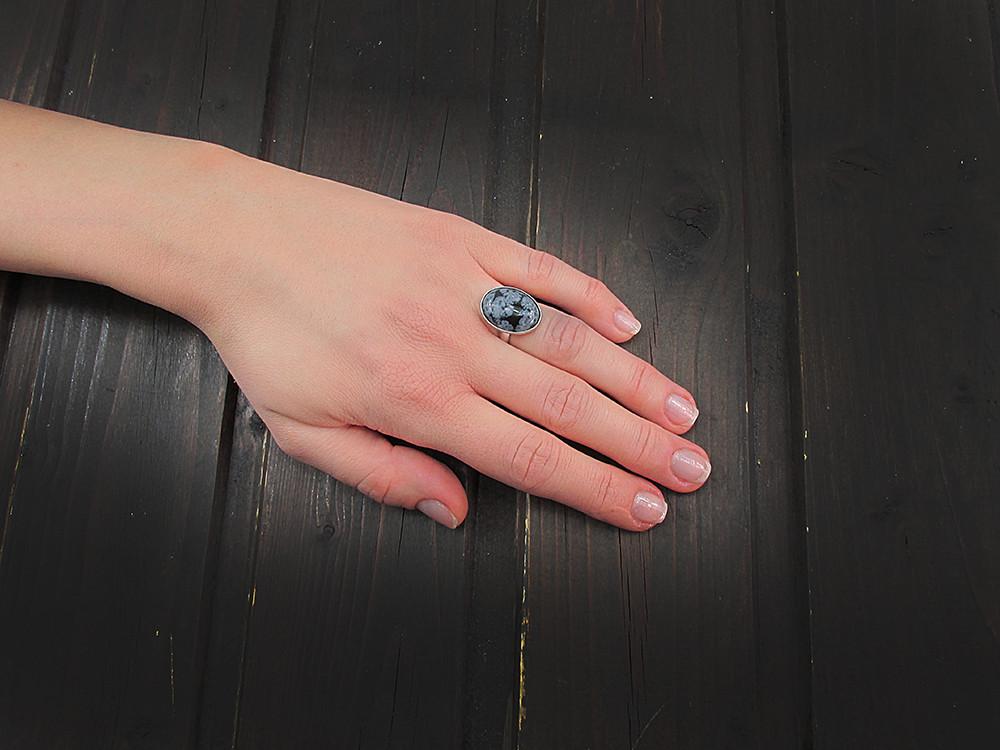 Inel argint reglabil cu obsidian fulg-de-nea 18x13 MM