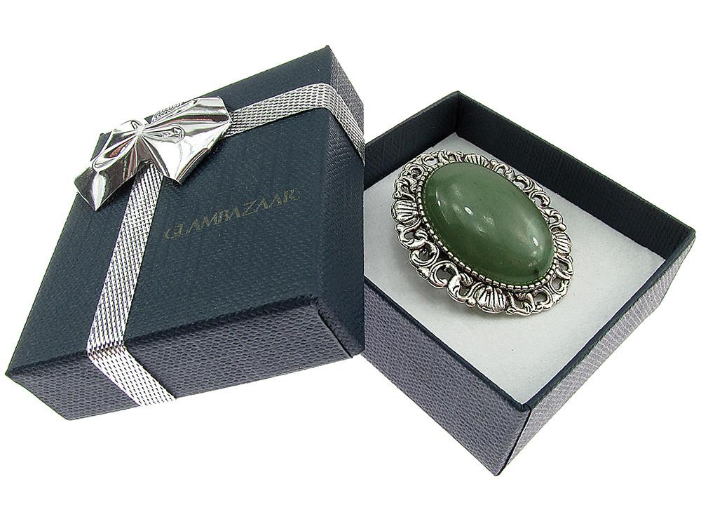 Brosa/pandantiv argintiu antic cu aventurin verde natural