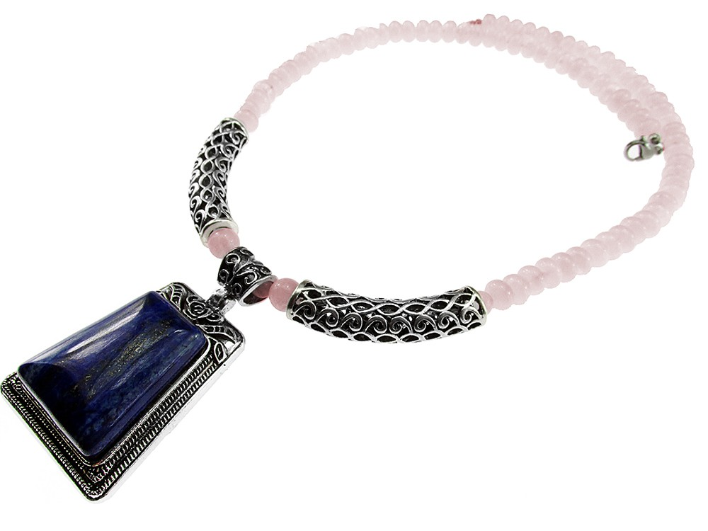 Colier Masiv Pietre Naturale Cuart Roz Cu Lapis Lazuli