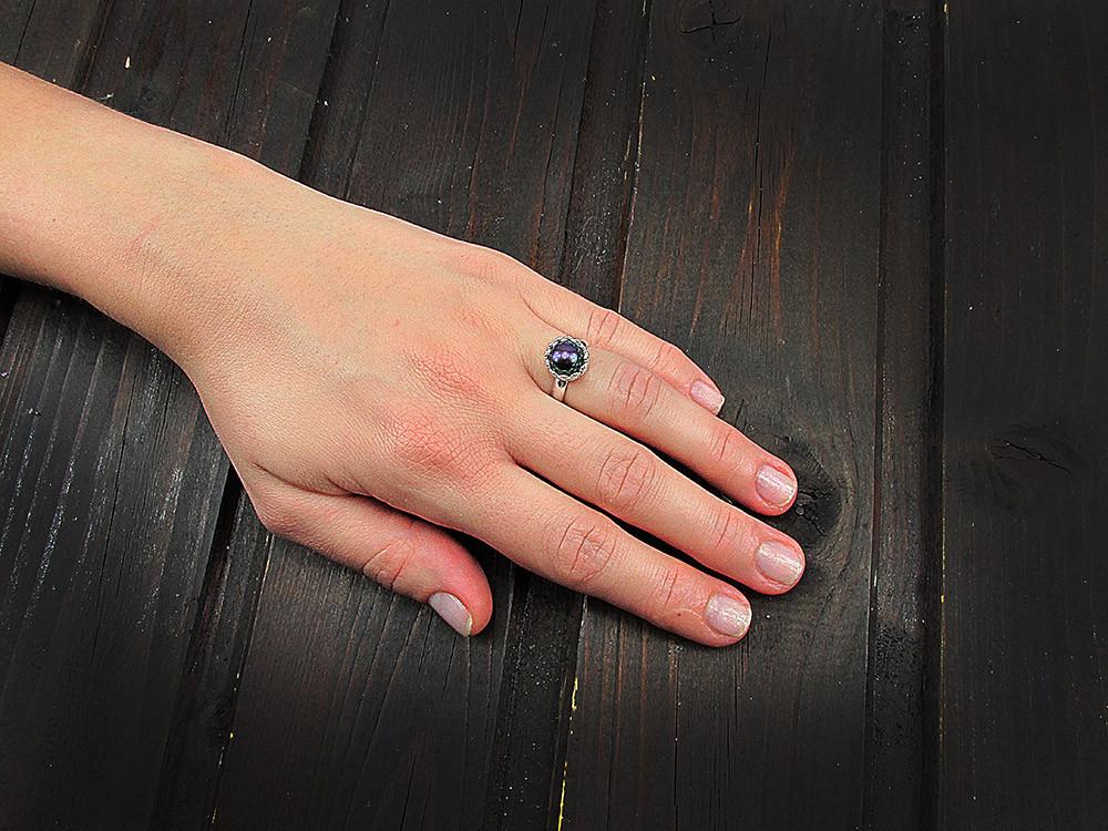 Inel argint reglabil coroana cu perla de cultura neagra 8 MM