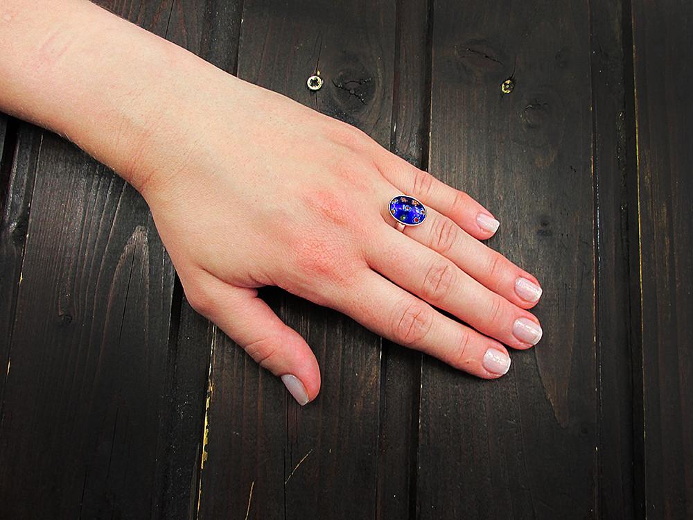 Inel argint reglabil cu Millefiori albastru/mix