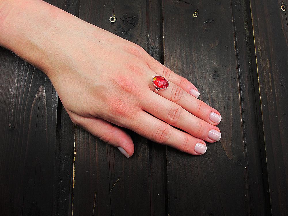 Inel argint reglabil cu Millefiori rosu
