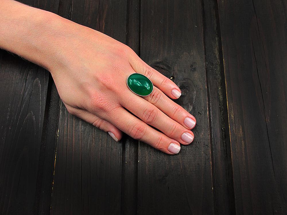 Inel argint reglabil masiv cu jad verde natural 25x18 MM