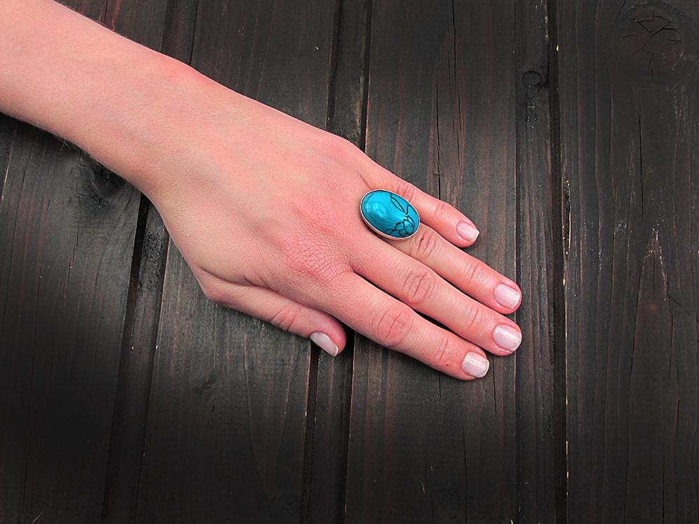 Inel argint reglabil masiv cu turcoaz albastru 25x18 MM