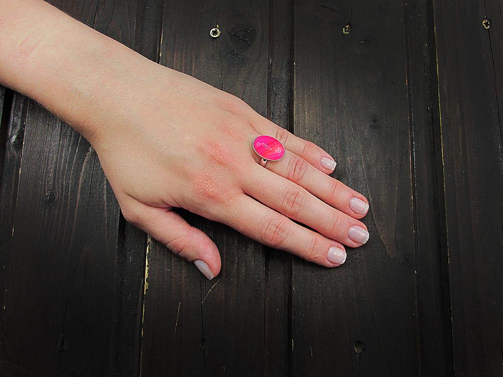 Inel argint reglabil UNICAT agat roz dantelat 18x13 MM