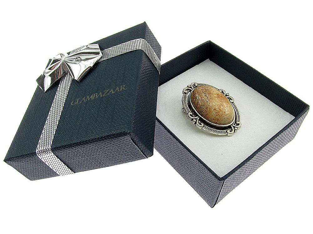 Brosa ovala mica cu jasp picture natural