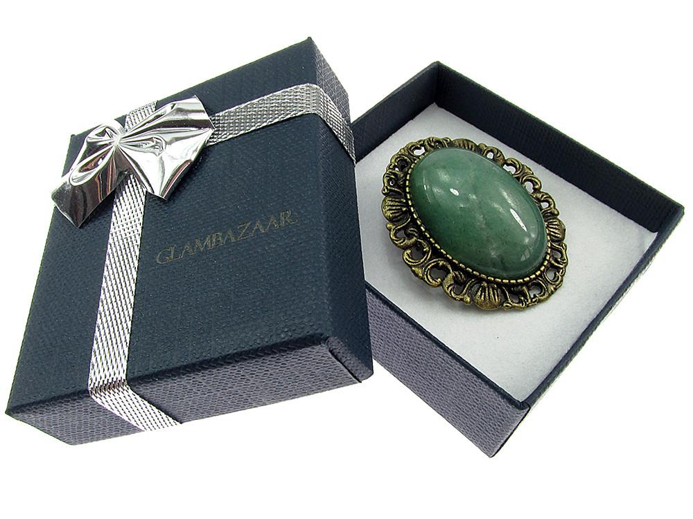 Brosa/pandantiv bronz antic cu aventurin verde natural