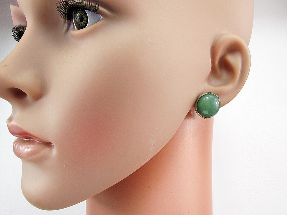 Cercei clips inox cu aventurin verde natural 14 MM