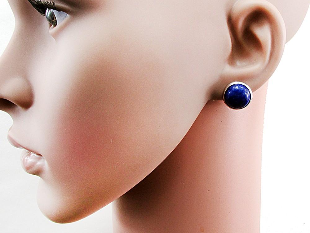 Cercei clips inox cu lapis lazuli natural 12 MM