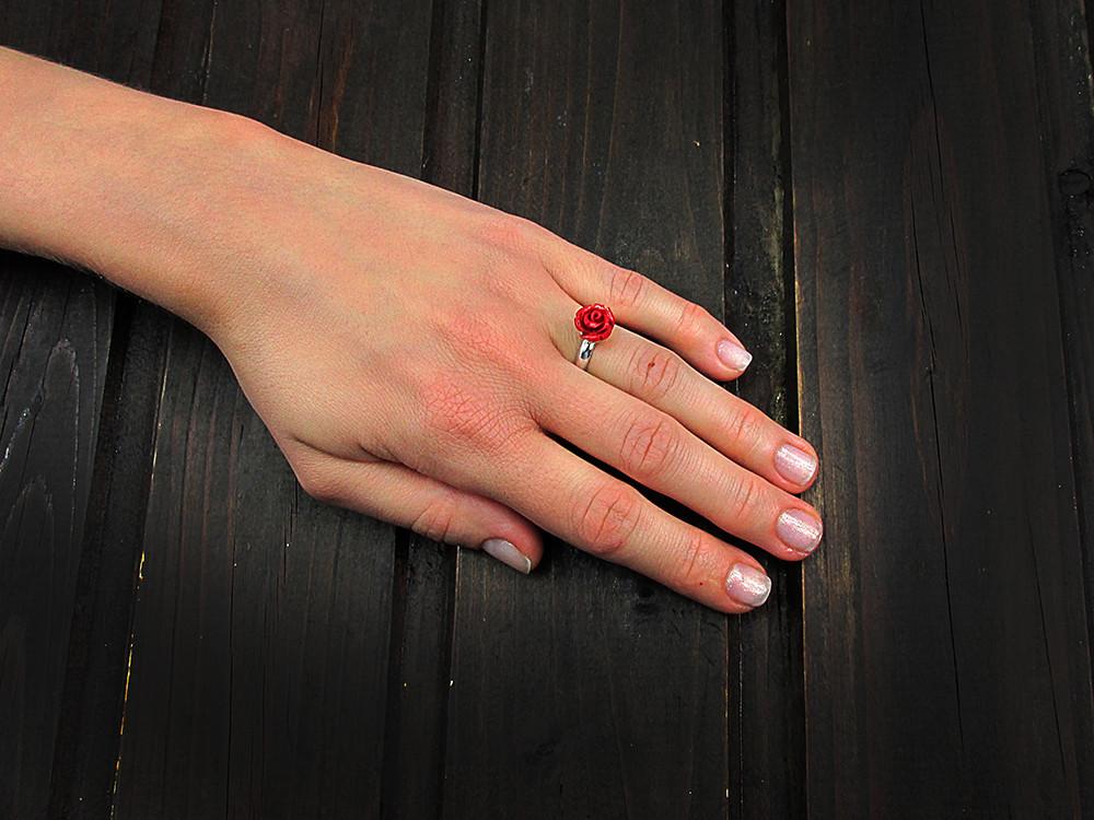 Inel argint reglabil cu trandafir coral pasta 10 MM