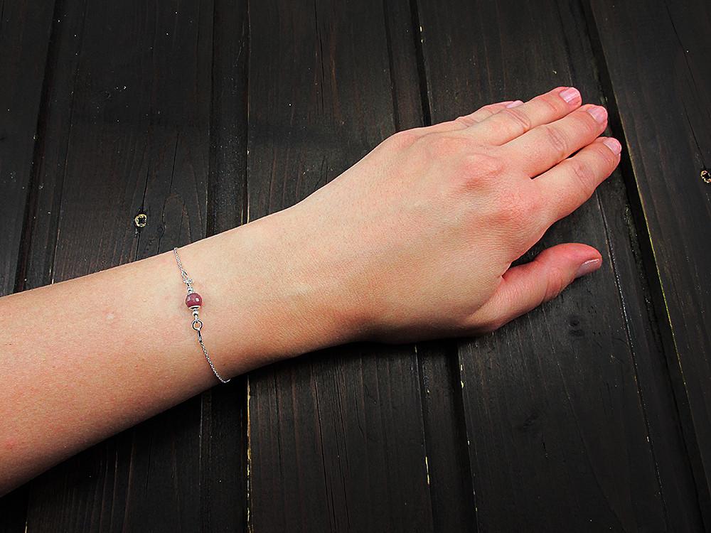 Bratara argint cu rubin natural 6 MM