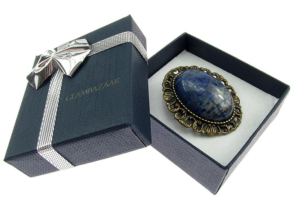 Brosa/pandantiv bronz antic cu lapis lazuli natural
