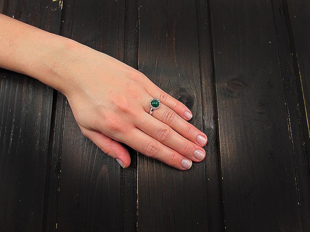 Inel argint reglabil coroana cu agat verde natural 8 MM