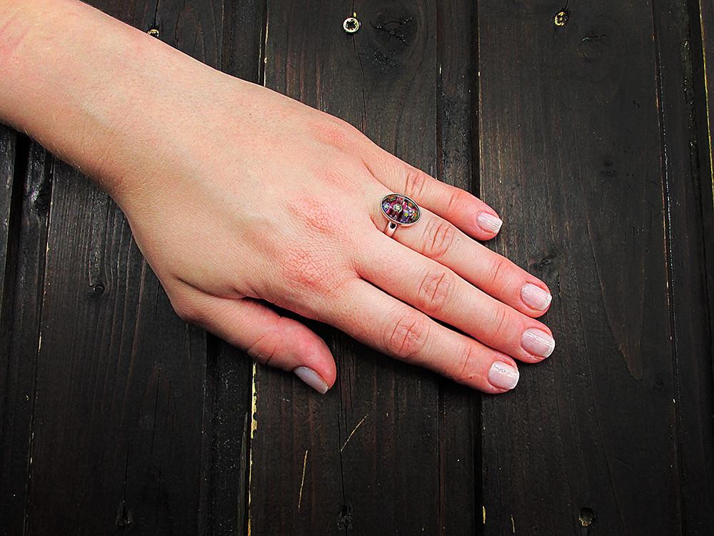 Inel argint reglabil cu Millefiori violet