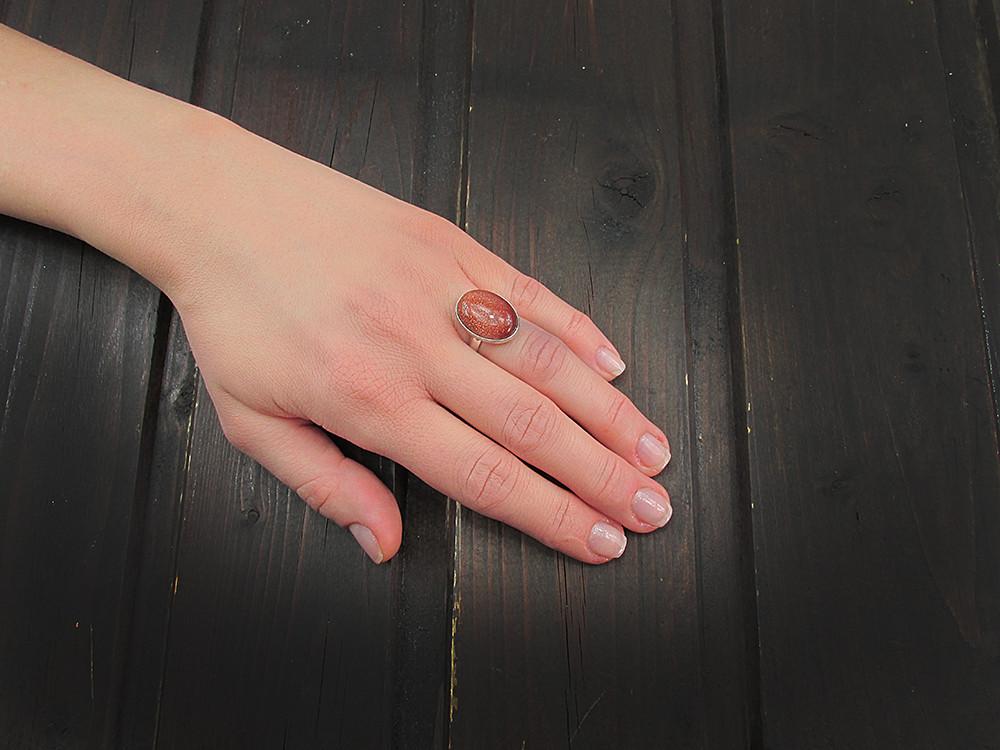 Inel argint reglabil cu Piatra Soarelui maro 18x13 MM