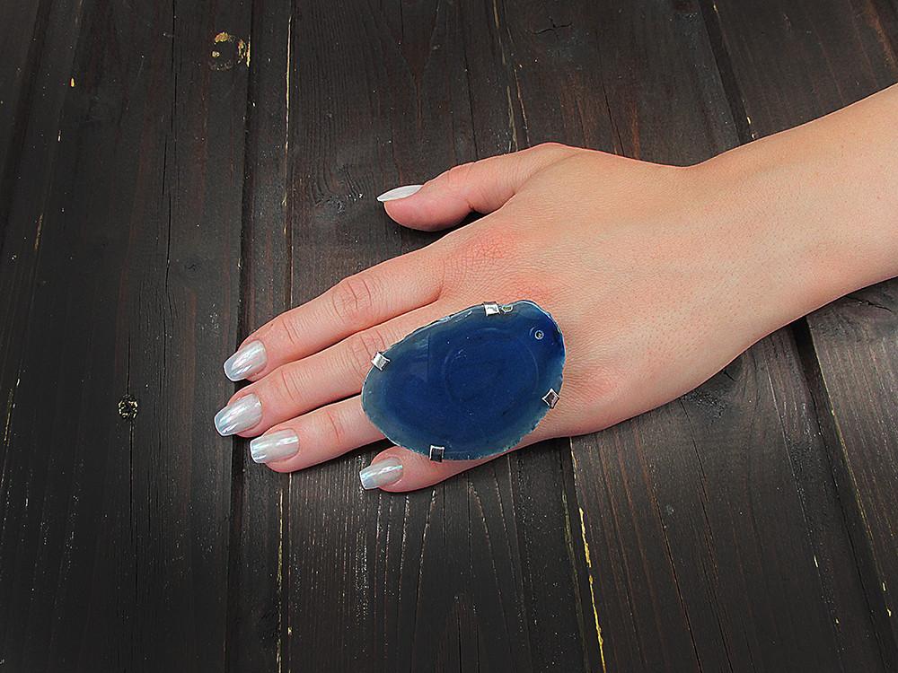 Inel reglabil statement masiv cu agat albastru natural A