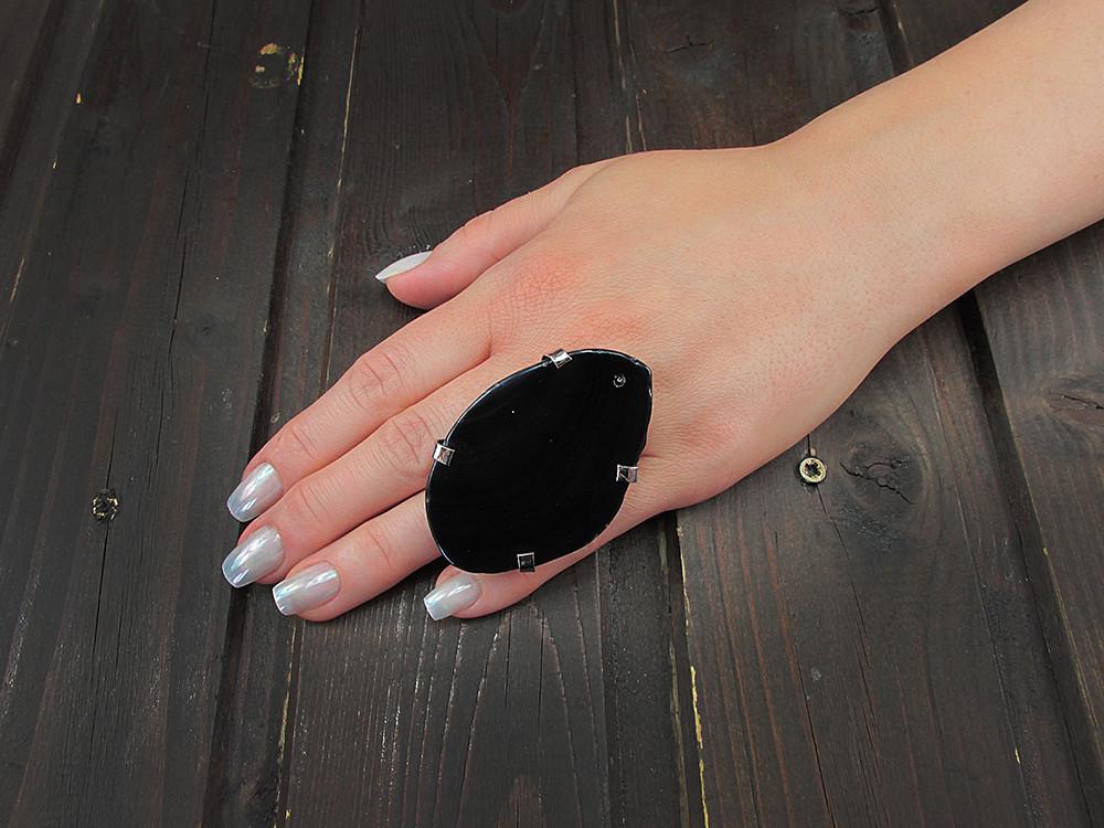 Inel reglabil statement masiv cu agat negru natural G