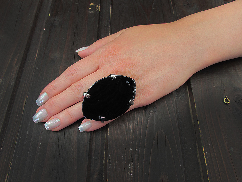 Inel reglabil statement masiv cu agat negru natural O