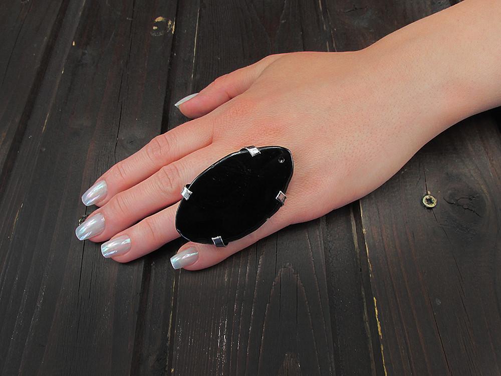 Inel reglabil statement masiv cu agat negru natural Q