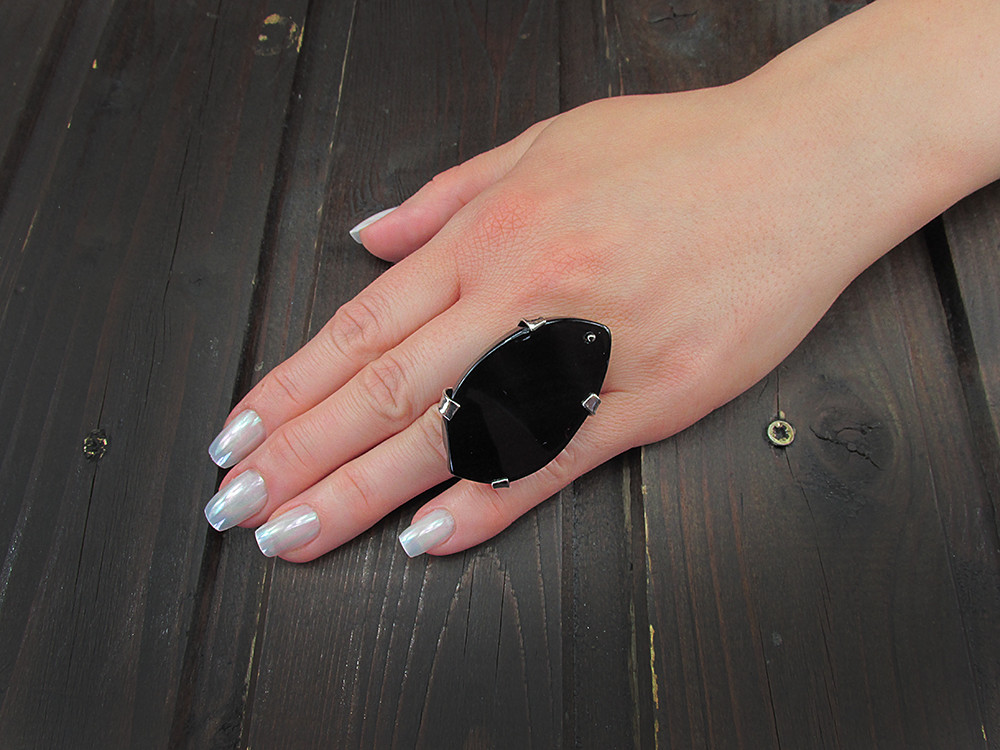 Inel reglabil statement masiv cu agat negru natural S