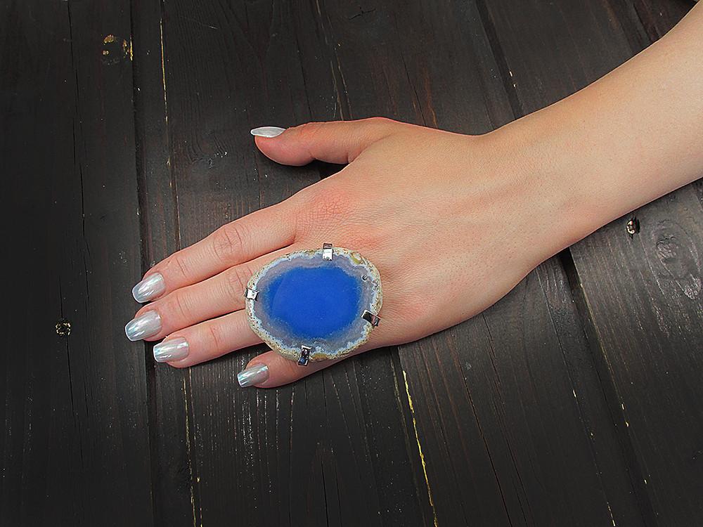 Inel reglabil statement masiv cu agata bleu naturala D