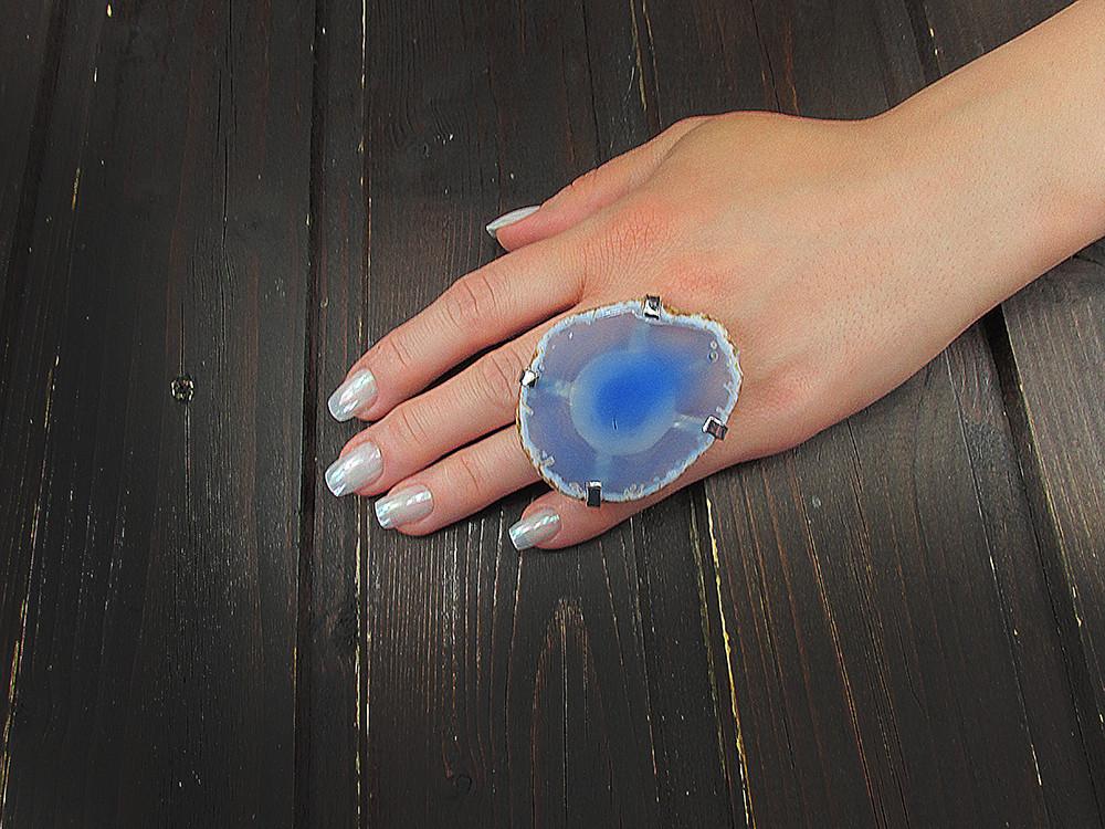 Inel reglabil statement masiv cu agata bleu naturala F