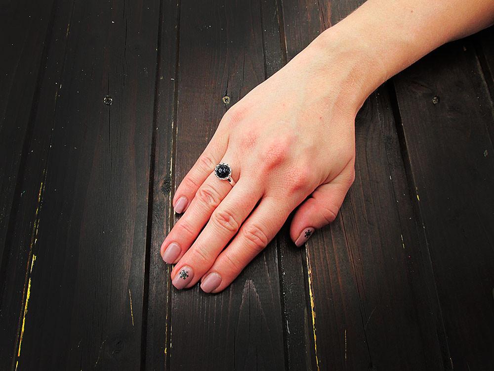 Inel argint reglabil coroana cu Piatra Soarelui albastra 8 MM