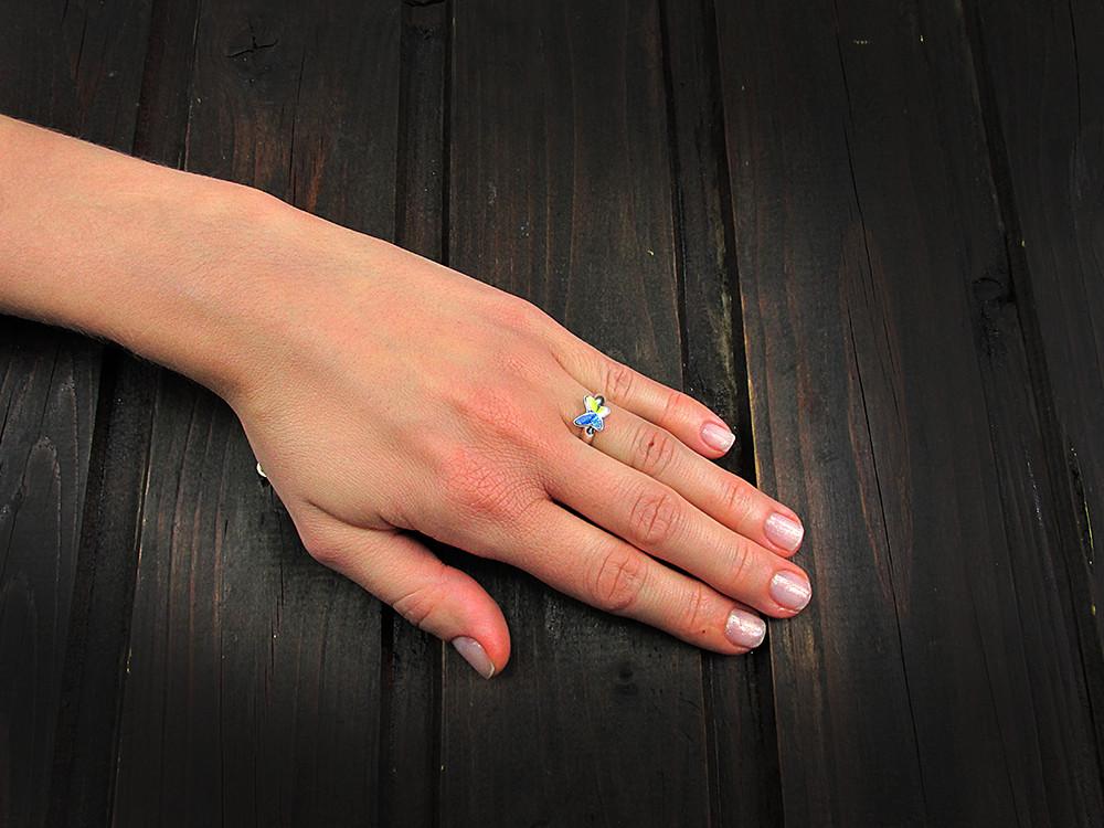 Inel argint reglabil cu fluture Swarovski Elements cristal AB 8 MM