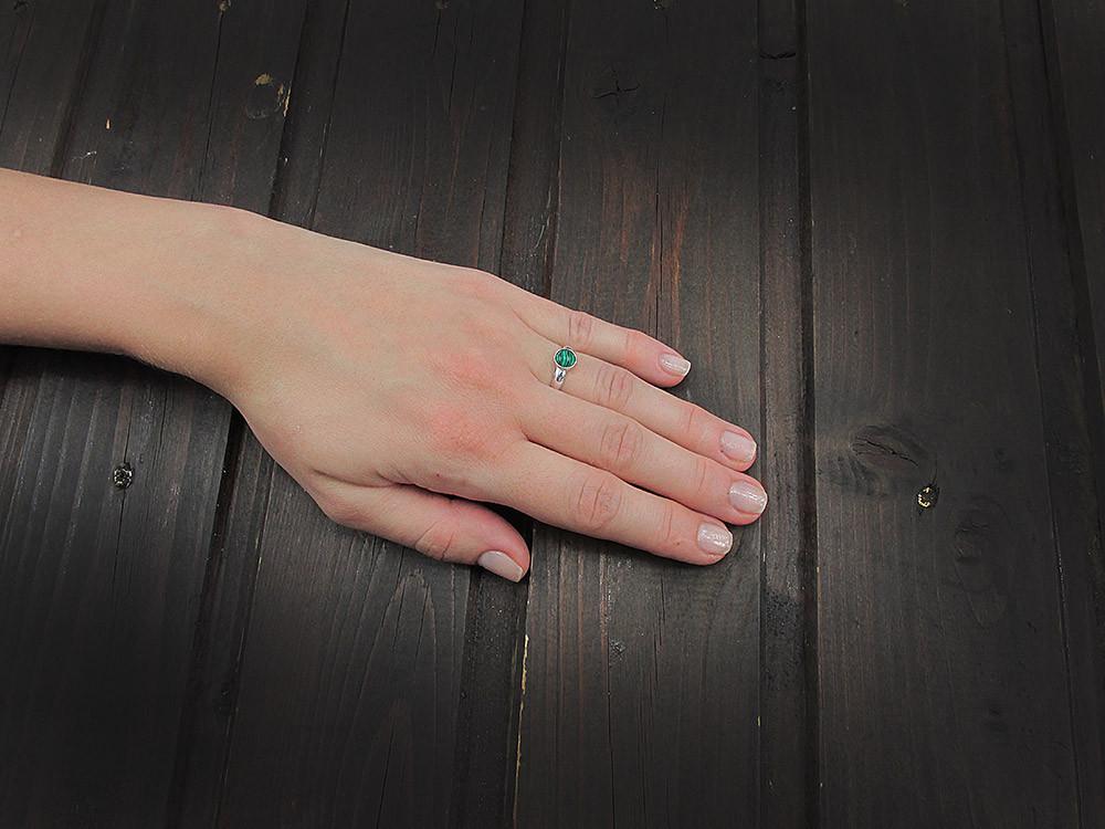 Inel argint reglabil cu malachit 6 MM