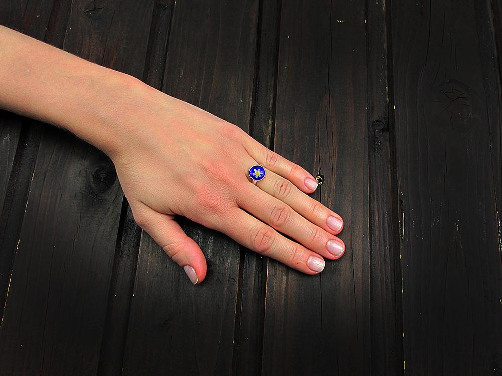 Inel argint reglabil cu Millefiori albastru 10 MM
