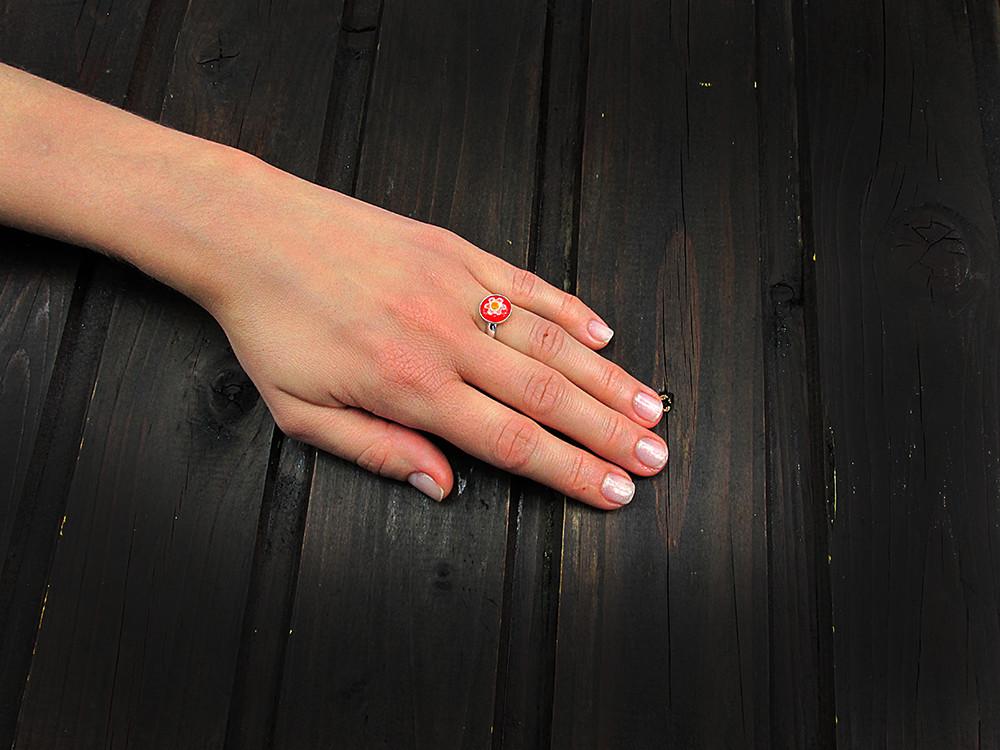 Inel argint reglabil cu Millefiori rosu 10 MM